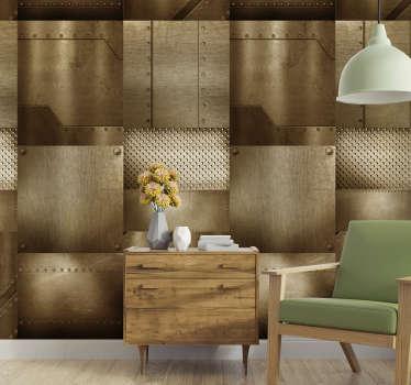 Que tal ter uma decoração não convencional em sua casa? Este papel de parede texturizado com o produtode mosaico de latão é perfeito para interiores modernos.