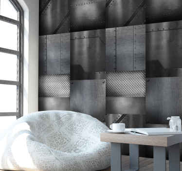 If you are interested in modern looking spaces, you will be really happy with this metal look wallpaper that structure is extremely interesting.