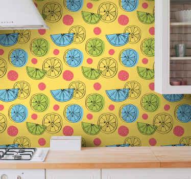 Papel pintado para cocina con un patrón impresionante de frutas cítricas cortadas por la mitad con manchas de colores al lado ¡Alta calidad!
