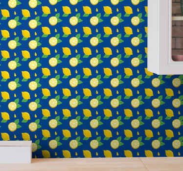 Lemon wallpaper which  features an awesome pattern of lemons and leaves on a dark blue background. Extremely long-lasting material.