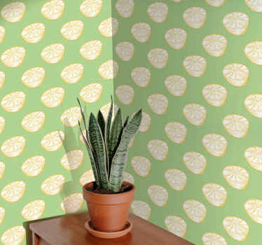 Papel pintado para cocina con un patrón de limones dibujados a mano sobre un fondo verde. Hecho a medida por encargo ¡Envío exprés!