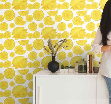 白い背景にオレンジとレモンのオレンジ模様の柑橘系の壁紙。この素晴らしいデザインでキッチンエリアを飾るのに理想的です。