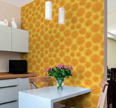 Orange patterned Wallpaper with yellow background and orange slices, ideal for you to fill with color and joy the atmosphere of your kitchen.