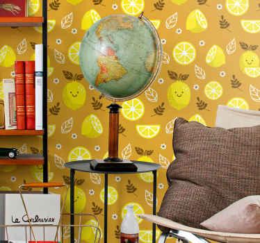 Papel pintado amarillo de limones sonrientes cítricos: el diseño se puede aplicar en la cocina, el comedor y otras habitaciones ¡Envñio exprés!