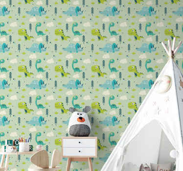 Do you like prehistory and dinosaurs? Why not bring them home with this dinosaur wallpaper for bedroom ? Features an awesome dinosaur motif s