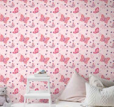 Notre papier peint original de couleur rose calme et convivial avec des imprimés de papillons serait un excellent choix pour décorer la chambre