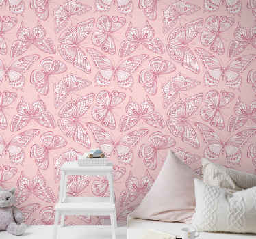 Pink wallpaper which features a stunning pattern of pink and white butterflies all with unique patterns on their wings. High quality.