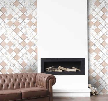 Steineffekt tapet som har et fantastisk mønster av marmorkeramiske fliser som er farget i rosa, hvitt og grått. Bestill den nå!