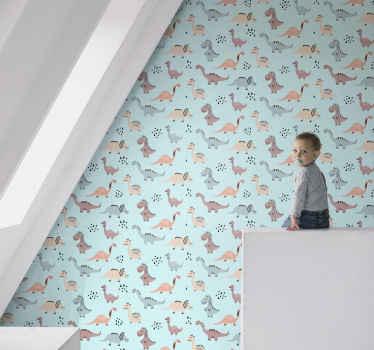 Kinder slaapkamer behang idee met cadet blauwe achtergrond. Op het behang staan verschillende dinosaurussen illustraties in verschillende kleuren.