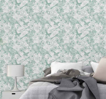 A decorative home wallpaper design for lovers of nature. The light green background wallpaper host amazing design of various birds on tree branches.