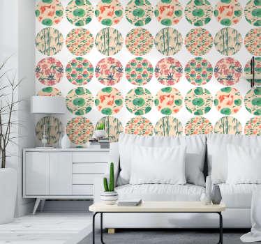 Papel con un estampado floral en patrones circulares donde que predomina el color verde para dar un toque de personalidad a las paredes de tu hogar