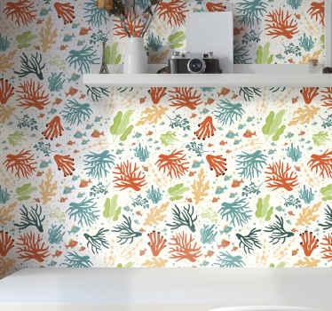 Papier peint à motifs avec l'illustration de coraux de nombreuses couleurs qui rempliront votre maison du calme de l'océan et de la joie des couleurs.