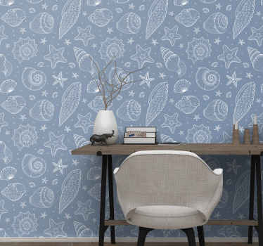 Under the sea Wallpaper with many sea creatures that live underwater, such as snails, starfish, turtles, etc. ideal for you to decorate the walls.