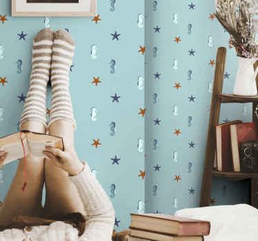 Beau papier peint de chambre de style marin avec des formes d'océan, sur fond bleu. Il est parfait pour n'importe quelle pièce, adultes ou enfants.