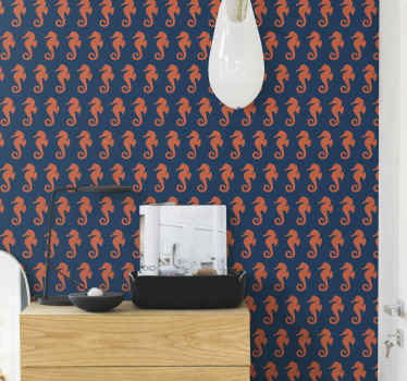 Sea life wallpaper with the illustration of many orange seahorses on a blue background that resembles the depth of the ocean. Long-lasting material.