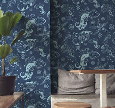 Blue patterned Wallpaper with design of jellyfish, seahorses, colares, and other elements of marine life that will fill with peace the walls.