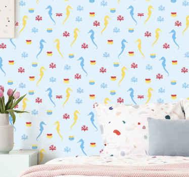 Papier peint de la vie marine avec hippocampes et de coraux comme sticker avec différentes couleurs qui rempliront de paix la décoration à la maison.