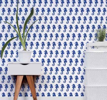 papier peint de la vie océanique avec illustration du sticker d'hippocampes bleus sur fond blanc idéal pour décorer les murs de votre maison.