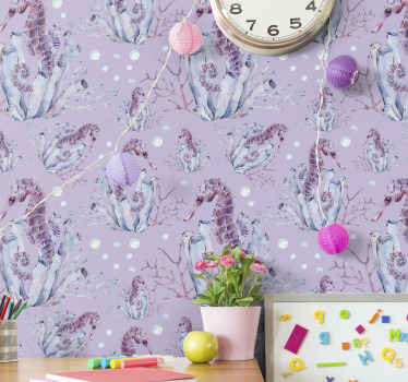 Watercolor seahorse animal wallpaper with purple background texture featured with design of various sea horses anchored on corals and sea grasses.