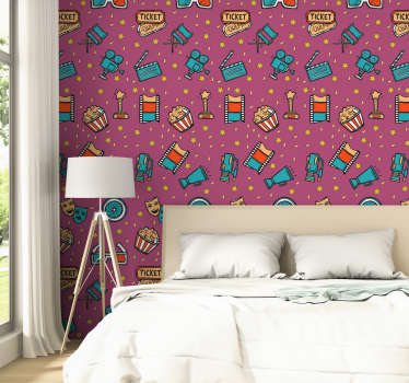 This children's vinyl wallpaper in a pattern composed of figures alluding to the seventh art in a pop art style will be perfect in your home decor.