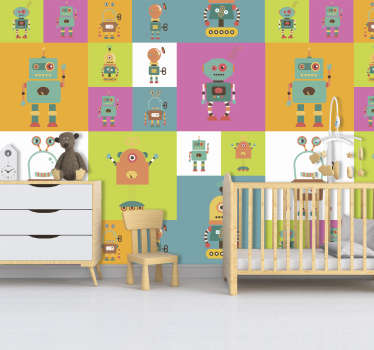 Looking for a fun and colourful wallpaper to decorate your little one's bedroom? This robot wallpaper is perfect for you!