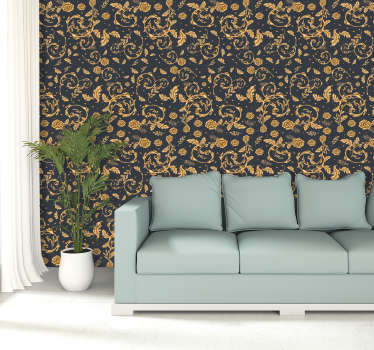 A modern vintage gold leave styled pattern wallpaper to decorate your home.  A special design to create an aesthetic beauty in your home.