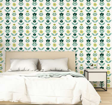 If you're thinking of adding a lovely touch of green to your wall, well  this flower wallpaper would be a fantastic green addition to your walls