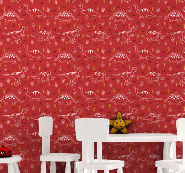 This kids wallpaper design is a hand drawn illustration of a dinosaurs in white colour, printed multiple times on a red background. Order today!