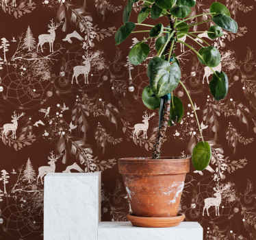 Beautiful animal wallpaper in a burgundy colour with a deer, trees and snow in a small white print. Ideal for winter lovers! Home delivery available!