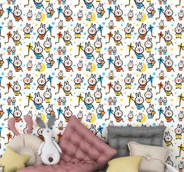 This kids wallpaper is full of little rabbits dressed in colourful clothes and hanging on a kite. Very fun and refreshing design! Home delivery!