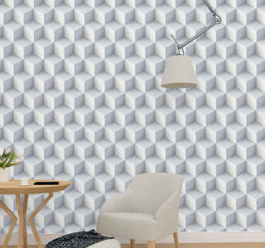 Impressive 3D white cubes Geometric Wallpaper perfect for decorating everywhere at home. Get it now online! Easy to apply! Home delivery!