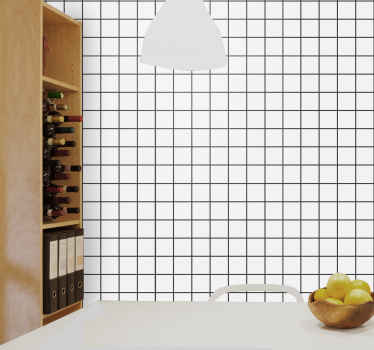 Uneven checkboard Square Pattern Wallpaper. White design of a scared grid pattern width uneven tiles. Get this and personalise your walls!