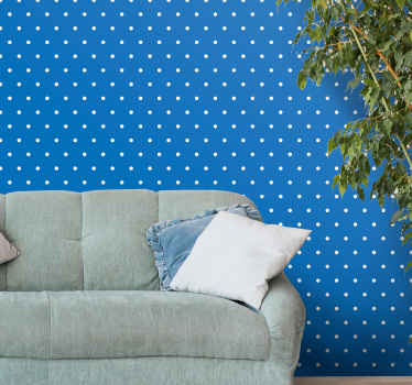 3D wallpaper for living room, bedroom and any other space. The wallpaper host a blue background with white dots. Made of quality, resistant to rumple.