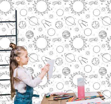 Commandez notre papier peint éléments de l'espace étoilé version enfants en ligne. Le papier peint est fait avec un fond blanc