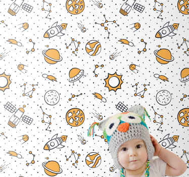 White background wallpaper for children bedroom featured different space illustrations such as the sun, moon, space rocket, asteroids, space ship, etc