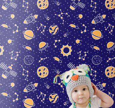 Créez un espace et une atmosphère merveilleux pour votre tout-petit avec notre papier peint de haute qualité espace et fusées version enfants.
