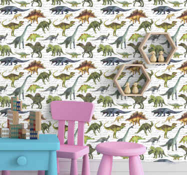 Kids room wallpaper with the illustration of many realistic dinosaurs in blue, orange and green colors on a white background. Anti-bubble vinyl.