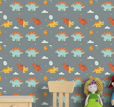 Cute dinosaurs illustrations children wallpaper. This is really colorful and would customize a kid's room with lovely look and attention.