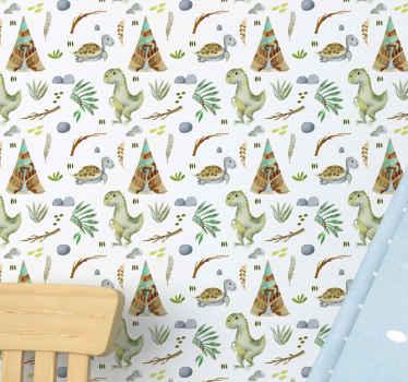 Papel pared infantil con estampados de dinosaurios y tortugas muy coloridos y muy ilustrativos. Elige los rollos ¡Envío exprés!