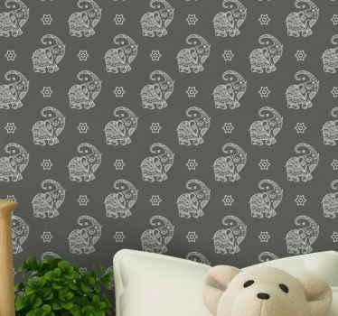 Papel pared infantil de elefantes orientales para niños: el fondo que diseñó en gris oscuro dará un aspecto encantador al cuarto de tu hijo.