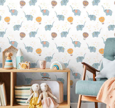 Papel pintado infantil de elefantes felices de estilo nórdico. Un diseño original para cuarto infantil ¡Descuentos disponibles!