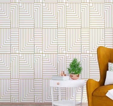 Luxe behang met de illustratie van geometrische figuren in goudkleur op een witte achtergrond die een elegante en klassieke sfeer zal geven. Koop nu!