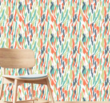 Artistic wallpaper with artistic illustration of many colors that will fill with joy and color the decoration and the walls of your house in minutes.