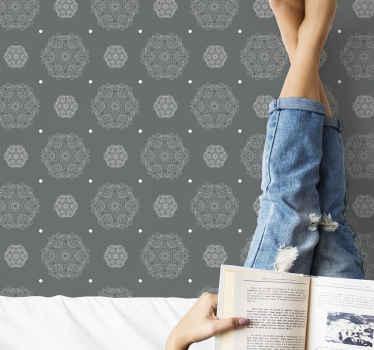 현대적인 회색 스타일의 만다라 일러스트와 함께 현대적인 벽지는 집 벽의 모양을 갱신하는 데 이상적입니다. 사이즈를 선택하세요