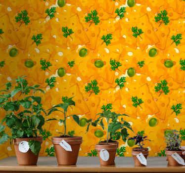 濃い黄色とオレンジ色とチーズの形で満たされたこの楽しくて人目を引くキッチンの壁紙を見てください!宅配!