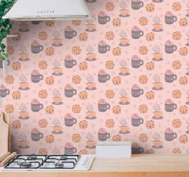 Carta da parati a tema cucina perfetta. L'incredibile sfondo rosa con illustrazioni di design di diverse bevande al caffè, fiocchi di neve, ecc.
