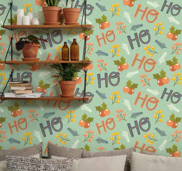 Ho ho ho text with ornament design charismas wallpaper. Beautiful wallpaper for home decoration and other space. Easy to apply and removable.