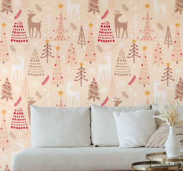 This design of a living room wallpaper is filled with stylish Christmas trees in delicate red, beige, brown and white colours with white reindeer's.