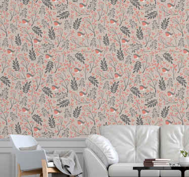 This particular design of a nature wallpaper is full of leaf shapes in an artistic pattern in different colours, on a delicate light pink background!