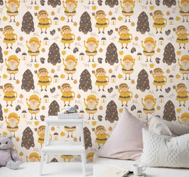 This particular design of a kid's wallpaper is filled with yellow elves dancing around Christmas tree on a white background. Home delivery available!